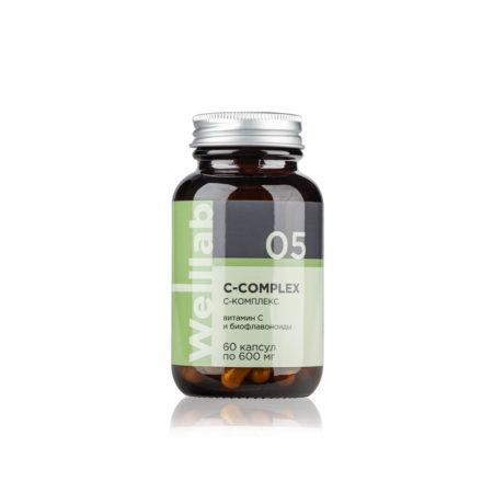 Источник витамина С. В упаковке: 60 капсул Welllab C-COMPLEX