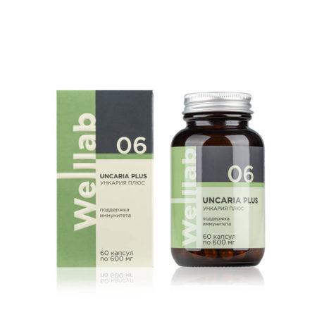 Комплекс на основе коры ункарии. В упаковке: 60 капсул Welllab UNCARIA PLUS, 60 капсул