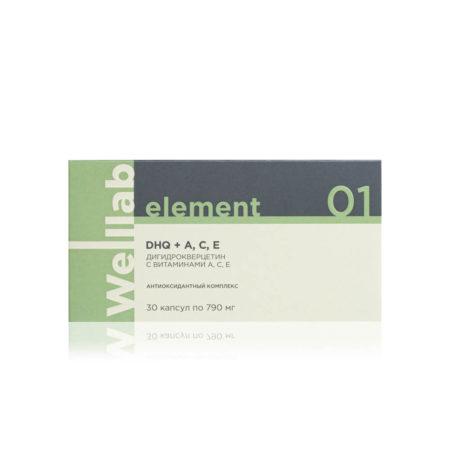 Комплекс для защиты сосудов и поддержки иммунитета Welllab Element Dihydroquercetin with A, C, E, 30 капсул
