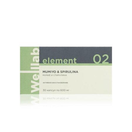 Адаптогенный и общеукрепляющий комплекс Welllab Element Mumiyo with chlorella, spirulina & royal jelly, 30 капсул